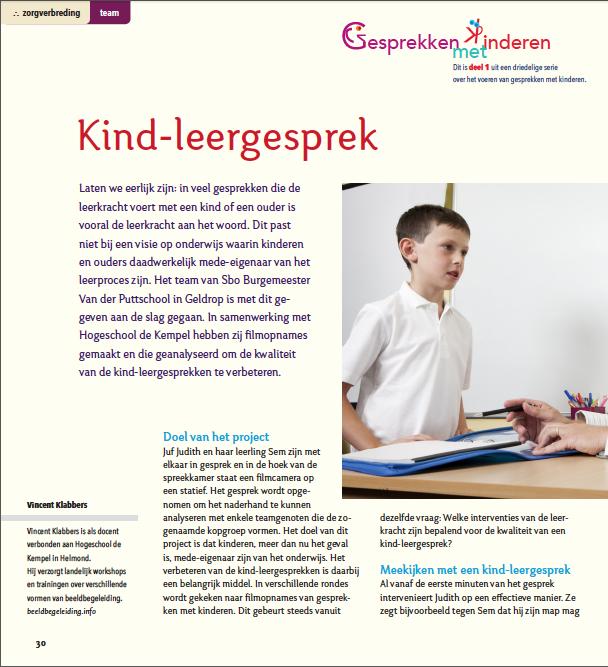 Kind-leergesprek, schoolontwikkeling met beeldbegeleiding
